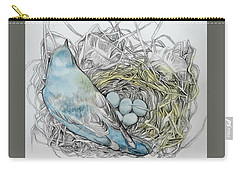 Carry-all Pouch featuring the drawing Quiet Time by Rose Legge