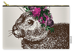 Rabbit And Roses Carry-all Pouch