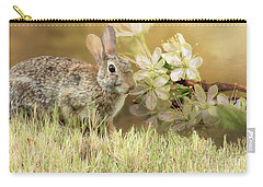 Eastern Cottontail Rabbit In Grass Carry-all Pouch by Janette Boyd