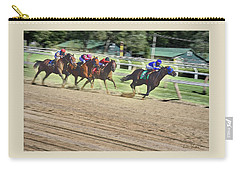 Race Horses In Motion Carry-all Pouch by Lise Winne