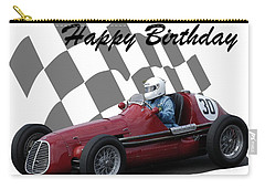 Racing Car Birthday Card 6 Carry-all Pouch by John Colley
