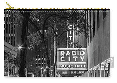 Radio City Music Hall Black And White With Trees Carry-all Pouch