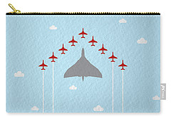 Raf Red Arrows In Formation With Vulcan Bomber Carry-all Pouch
