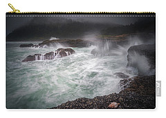 Carry-all Pouch featuring the photograph Raging Waves On The Oregon Coast by William Lee