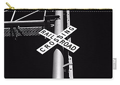 Rail Sign Black And White Carry-all Pouch