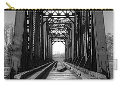 Railroad Bridge Black And White Carry-all Pouch
