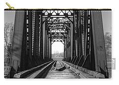 Railroad Bridge Black And White Carry-all Pouch