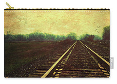 Carry-all Pouch featuring the photograph Railroad Track Glow by Anna Louise