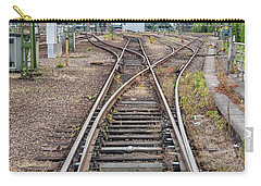 Carry-all Pouch featuring the photograph Railroad Tracks And Junctions by Antony McAulay