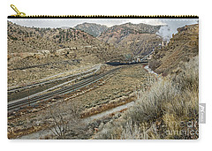 Carry-all Pouch featuring the photograph Railroad Tracks Lead To Power Plant by Sue Smith