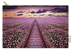 Railway In A Purple Tulip Field Carry-all Pouch