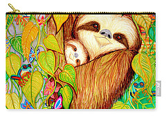 Rain Forest Survival Mother And Baby Three Toed Sloth Carry-all Pouch