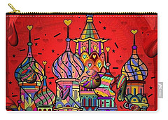 Carry-all Pouch featuring the digital art Rain In Moskau Popart By Nico Bielow by Nico Bielow