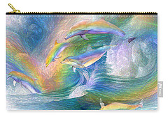 Rainbow Dolphins Carry-all Pouch by Carol Cavalaris