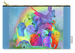 Carry-all Pouch featuring the mixed media Rainbow Doxies 1 by Carol Cavalaris
