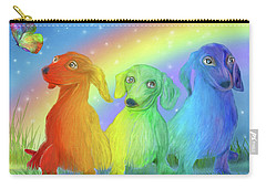 Carry-all Pouch featuring the mixed media Rainbow Doxies 2 by Carol Cavalaris
