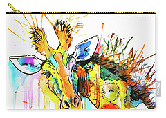 Carry-all Pouch featuring the painting Rainbow Giraffe by Zaira Dzhaubaeva