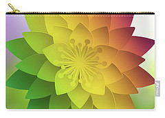 Carry-all Pouch featuring the digital art Rainbow Lotus by Mo T