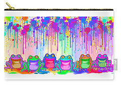 Carry-all Pouch featuring the painting Rainbow Of Painted Frogs by Nick Gustafson