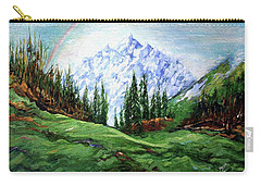 Rainbow Over The Snow Covered Mountain Carry-all Pouch