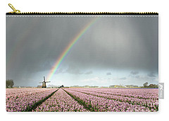 Rainbow Over Windmill And Flower Fields Carry-all Pouch