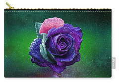 Carry-all Pouch featuring the photograph Rainbow Rose Among The Stars by Ericamaxine Price