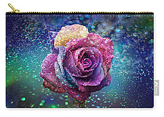 Carry-all Pouch featuring the photograph Rainbow Rose In The Rain by Ericamaxine Price