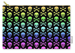 Rainbow Skull And Crossbones Carry-all Pouch