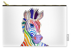 Rainbow Striped Zebra Carry-all Pouch by Nick Gustafson