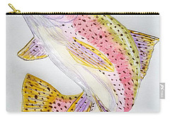 Rainbow Trout Presented In Colored Pencil Carry-all Pouch by Scott D Van Osdol