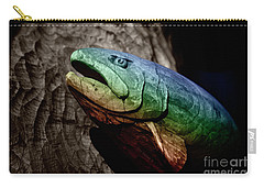 Carry-all Pouch featuring the photograph Rainbow Trout Wood Sculpture by John Stephens