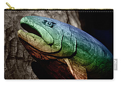 Carry-all Pouch featuring the photograph Rainbow Trout Wood Sculpture Square by John Stephens