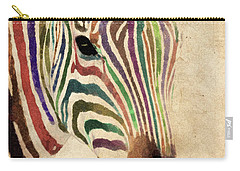Carry-all Pouch featuring the painting Rainbow Zebra by Greg Collins