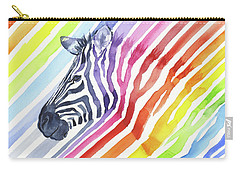 Rainbow Zebra Pattern Carry-all Pouch by Olga Shvartsur