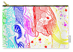 Rainbow Zentangle Elephant Carry-all Pouch