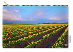 Carry-all Pouch featuring the photograph Rainbows, Daffodils And Sunset by Mike Dawson