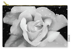 Carry-all Pouch featuring the photograph Raindrops On Rose Black And White by Jennie Marie Schell