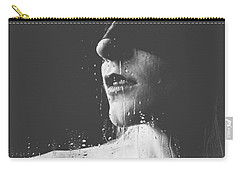 Raindrops - Blindfolded Beautiful Woman Behind A Window Carry-all Pouch