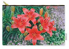 Carry-all Pouch featuring the photograph Raindrops On Crimson Pixie Asiatic Lily by Nancy Lee Moran