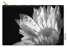Raindrops On Daisy Black And White Carry-all Pouch by Jennie Marie Schell