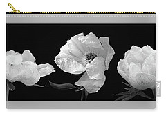 Raindrops On Peonies Black And White Panoramic Carry-all Pouch by Gill Billington
