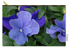 Raindrops On Purple Pansy Carry-all Pouch