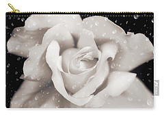 Carry-all Pouch featuring the photograph Raindrops On Sepia Rose Flower by Jennie Marie Schell