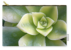 Raindrops On The Succulent Carry-all Pouch by Elvira Butler
