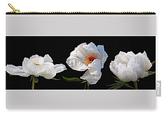 Raindrops On White Peonies Panoramic Carry-all Pouch by Gill Billington