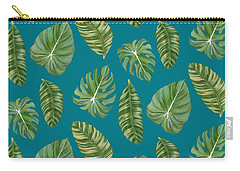 Rainforest Resort - Tropical Leaves Elephant's Ear Philodendron Banana Leaf Carry-all Pouch by Audrey Jeanne Roberts