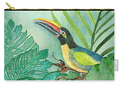 Rainforest Tropical - Jungle Toucan W Philodendron Elephant Ear And Palm Leaves 2 Carry-all Pouch