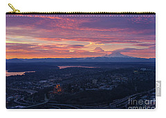 Rainier And Seattle Sunrise Cloudscape Carry-all Pouch by Mike Reid