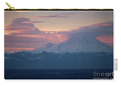 Rainier Lenticular Clouds Sunrise Carry-all Pouch by Mike Reid