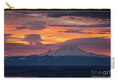 Rainier Sunrise Lenticular Cloudscape Carry-all Pouch by Mike Reid